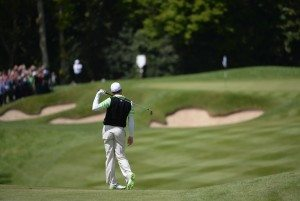 VIRGINIA WATER, ENGLAND - MAY 25: Sergio Garcia of Spain reacts to his approach shot on the first hole during the third round of the BMW PGA Championship on the West Course at Wentworth on May 25, 2013 in Virginia Water, England. (Photo by Ross Kinnaird/Getty Images)